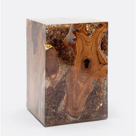 Organic Teak Wood and Cracked Resin Cube Tables - alter8.com