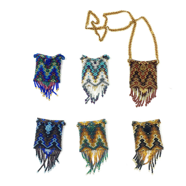 Beaded Square Pouch Necklaces by GuatBeads