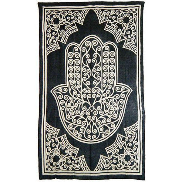 Black and White Hamsa Cloth Tapestry - alter8.com