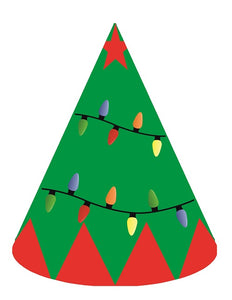 Christmas Tree Party Hats - 6pcs