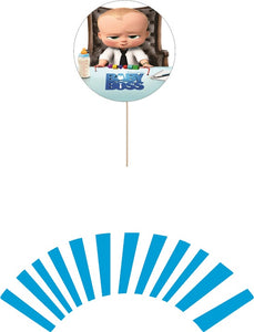 Baby Boss Cupcake toppers and wrappers - 12 pcs or 24 pcs