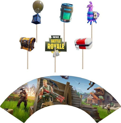 Fortnite Game Cupcake toppers and wrappers - 12 pcs or 24 pcs