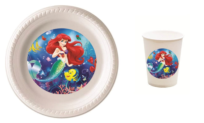 Ariel Little Mermaid Party Plates and Cups