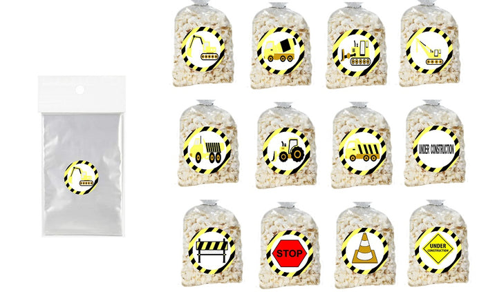 Under Construction Clear Party Bags for popcorn, candies or giveaways - 12pcs