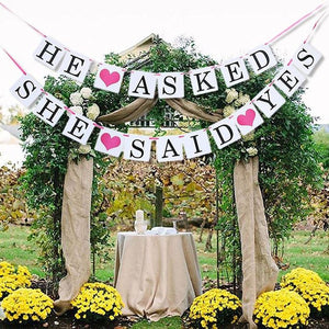 HE ASKED AND SHE SAID YES Banner for Engage or Wedding Party- 1pcs