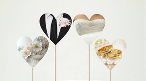 Engage Wedding Hearts Cupcake toppers and wrappers - 12 pcs or 24 pcs