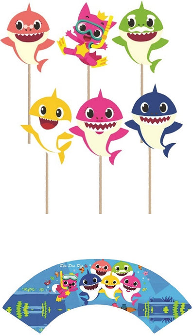 Baby Shark Cupcake toppers and wrappers - 12 pcs or 24 pcs