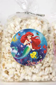 Ariel Little Mermaid Clear Party Bags for popcorn, candies or giveaways - 12pcs