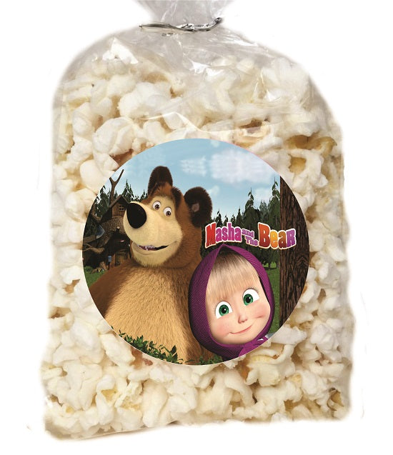 Masha and the Bear Clear Party Bags for popcorn, candies or giveaways - 12pcs