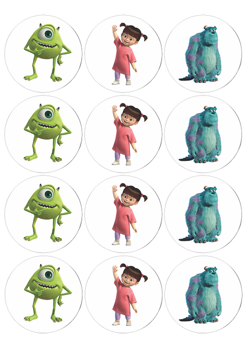Monsters Inc Round Stickers for Birthdays - 12pcs