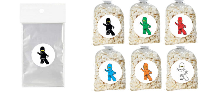 Ninjago Lego Clear Party Bags for popcorn, candies or giveaways - 12pcs