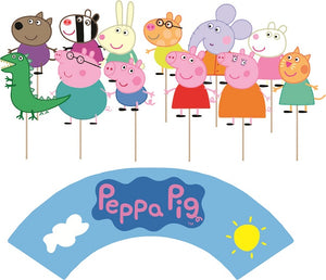 Peppa Pig Cupcake toppers and wrappers - 12 pcs or 24 pcs
