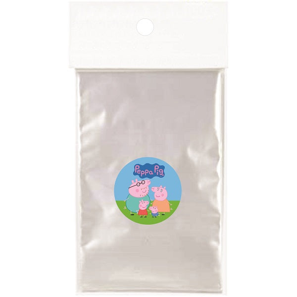 Peppa Pig Clear Party Bags for popcorn, candies or giveaways - 12pcs