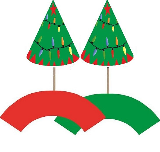 Christmas Trees Cupcake toppers and wrappers - 12 pcs or 24 pcs
