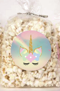 Unicorn Clear Party Bags for popcorn, candies or giveaways - 12pcs