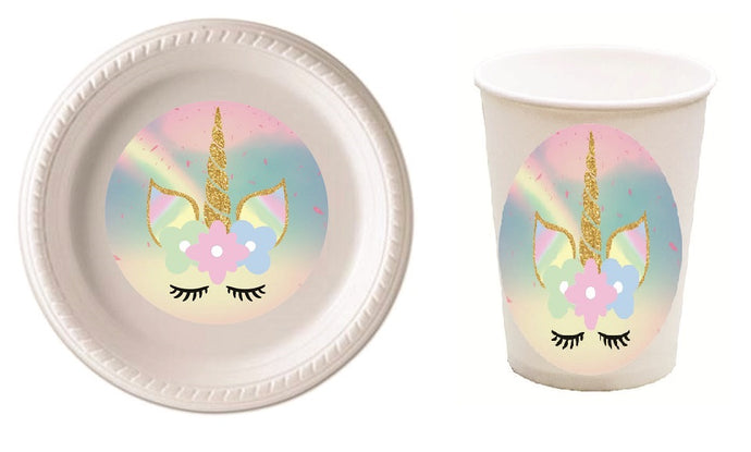 Unicorn Party Plates and Cups