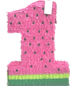 Watermelon Numbers Pull Strings Pinata 40cm - 1pcs