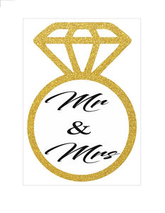 MR & MRS Golden Ring Invitations for Engaged or Wedding Party - 6pcs