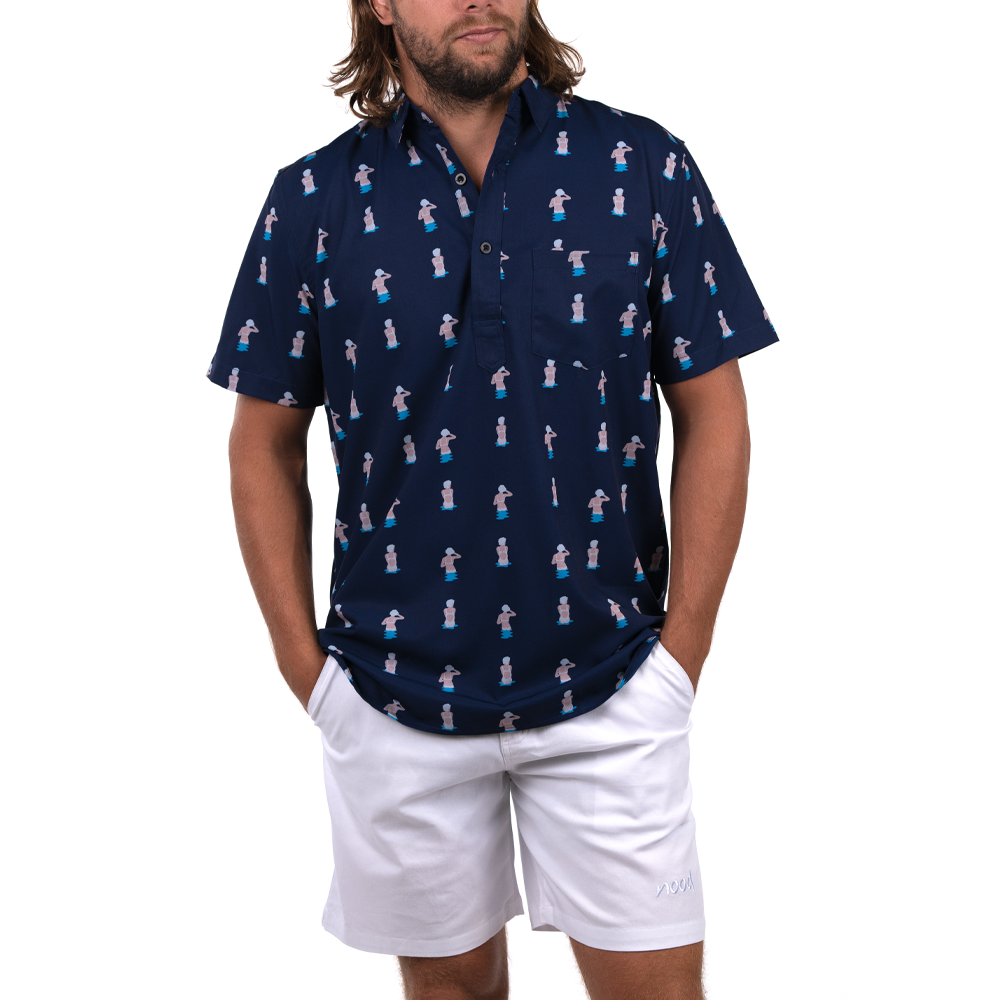 GRAN LINES HALF BUTTON DOWN W/ STRETCH