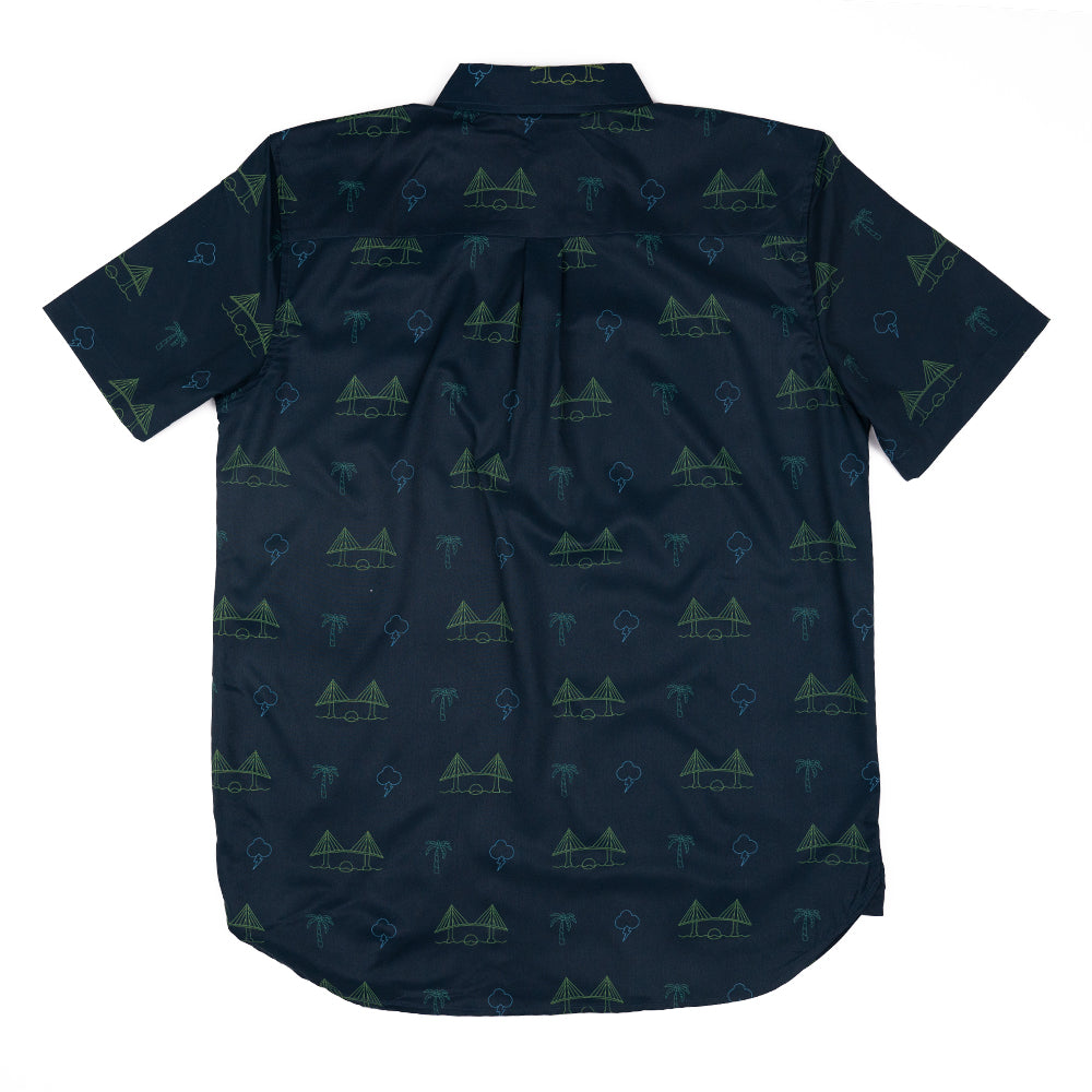 BAE AREA (NAVY) HALF BUTTON W/ STRETCH