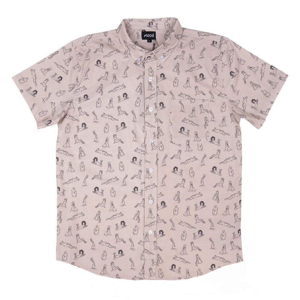 FINE LINES (GREY) FULL BUTTON DOWN W/ FLEX