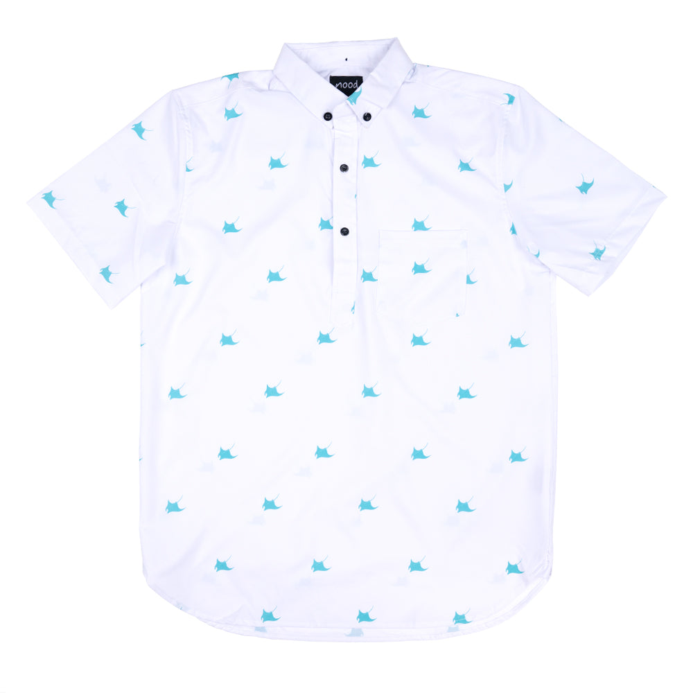RAY DAY (WHITE) HALF BUTTON DOWN W/ STRETCH