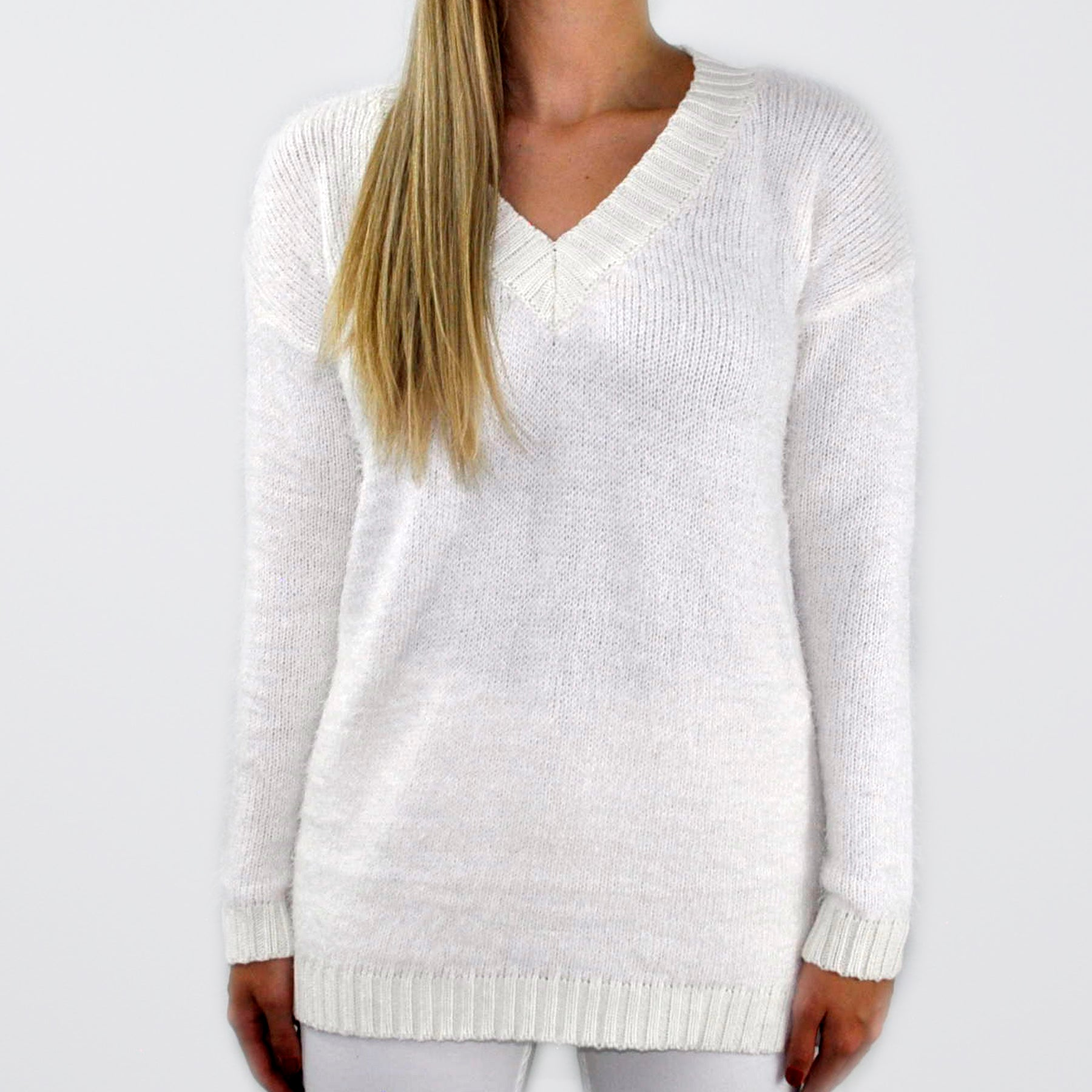 Furry Knit V-Neck Sweater - SOИDER BOUTIQUE