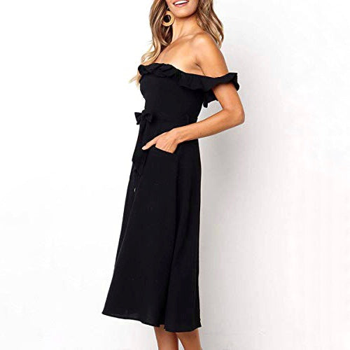 Arum Off-The-Shoulder Midi Dress - SOИDER BOUTIQUE