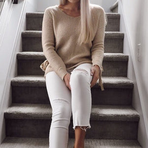 Soft Knit V-Neck Sweater With Side Tie - SOИDER BOUTIQUE