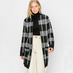 Cremieux Plaid Knit Cardigan