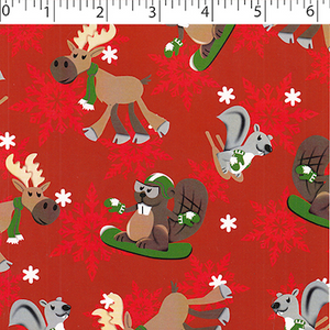 Flannelette - Red Northern Friends (1/2 yard)