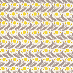 ORGANIC COTTON - quilting/poplins - Cloud 9 fabrics - Swaying Floral - Mustard - Grey Abbey (1/2 yard)