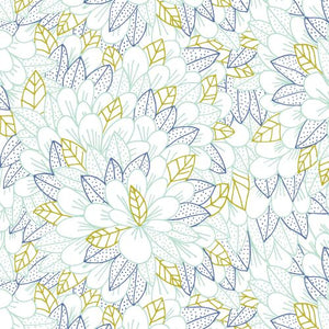 ORGANIC COTTON - quilting/poplins - Cloud 9 fabrics - BLOMMA - Turquoise - Voile (1/2 yard)