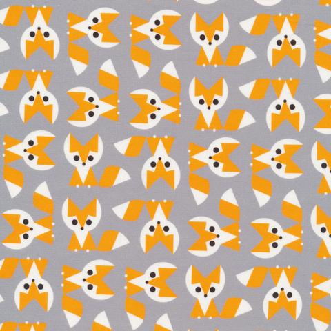 ORGANIC COTTON - Cloud 9 fabrics - Ed Emberley Favorites - Fox  (1/2 yard)