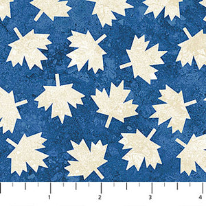 COTTON - Northcott - OH CANADA Beige Leaf on Blue (1/2 yard)