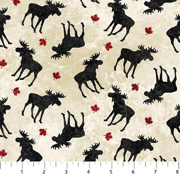 COTTON - Northcott - OH CANADA Smaller Moose (1/2 yard)