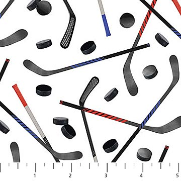hockey sticks and pucks fabric