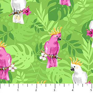 COTTON - Northcott - Tiger tales Cockatoo on GREEN (1/2 yard)
