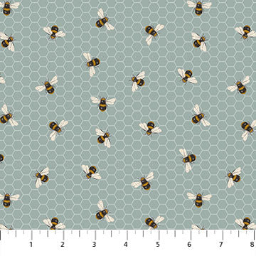 COTTON - Northcott - Bee Kind BLUE  (1/2 yard)