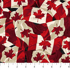COTTON - Northcott - OH CANADA 8 Canada Flags  (1/2 yard)