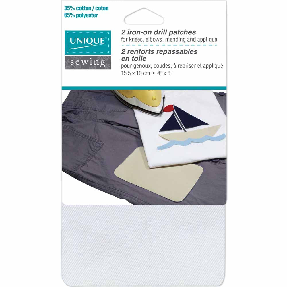 UNIQUE SEWING Iron on Drill Patch WHITE - 10 x 15cm (4″ x 6″) - 2pcs