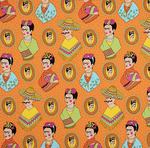 COTTON - Alexander Henry Fabrics - Alexander Henry PIN UPS - Fantastico Frida- Orange - (1/2 yard)