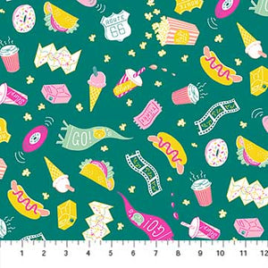 COTTON - FIGO fabrics - American Road Trip - Snacks Dark Green (1/2 yard)