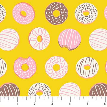 COTTON - FIGO fabrics - American Road Trip - Donuts YELLOW (1/2 yard)