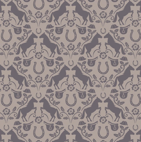 COTTON - Lewis & Irene - Farley Mount On Light Warm Grey (1/2 yard)