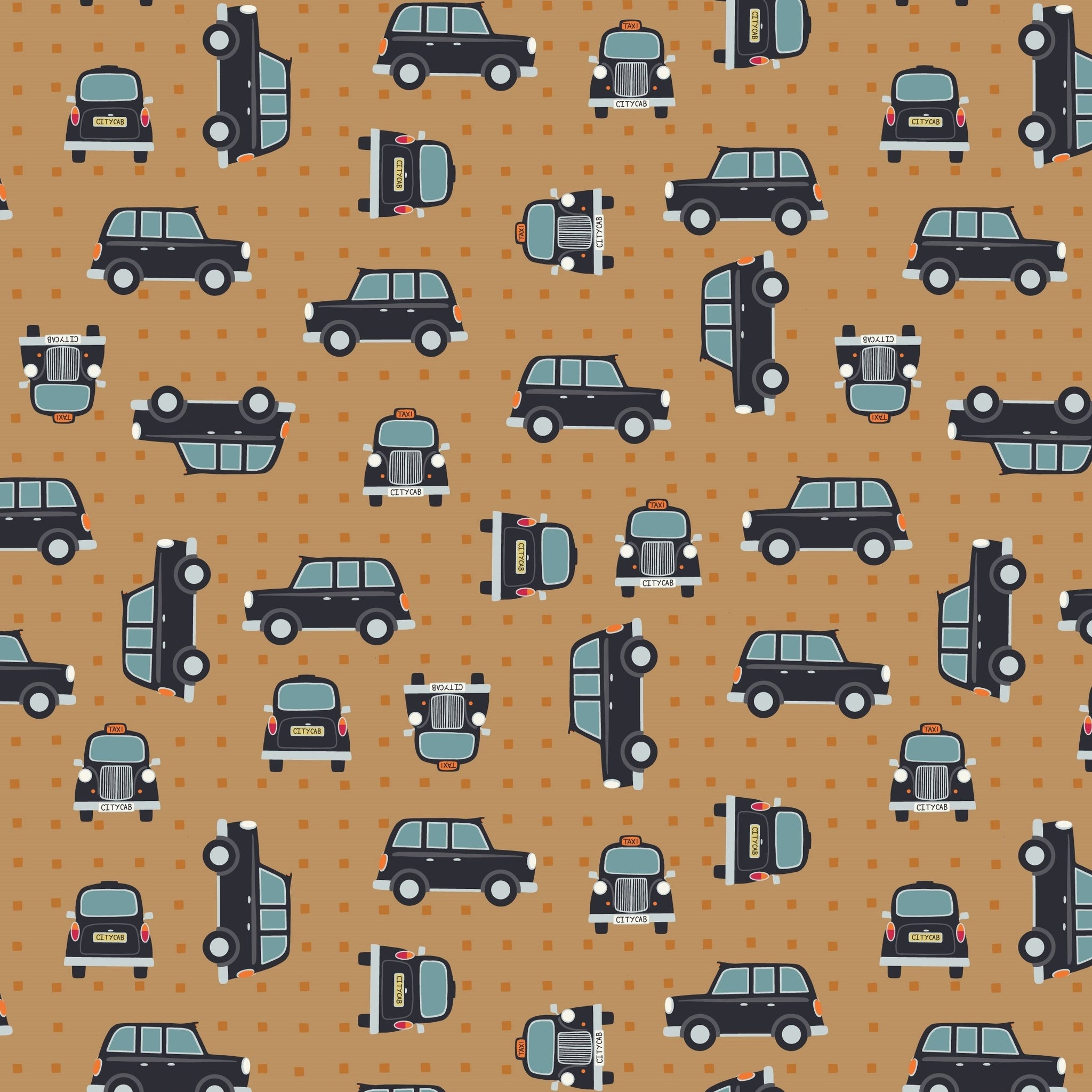 COTTON - Lewis & Irene - City Nights Black Cab Copper on Copper  *Metallic Accents*   (1/2 yard)