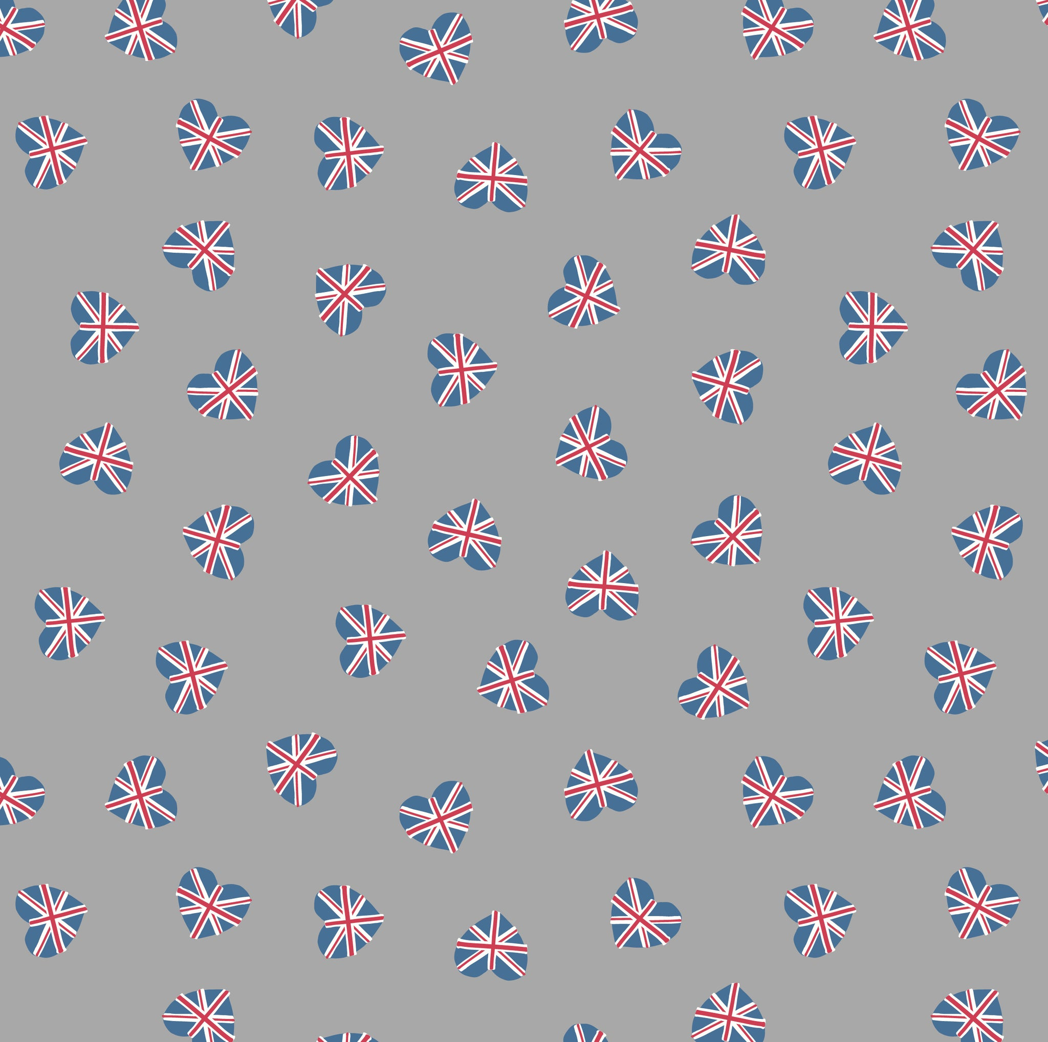 COTTON - Lewis & Irene - Britannia - Union Jack Hearts on Grey  (1/2 yard)