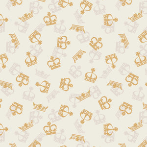 COTTON - Lewis & Irene - Britannia - Metallic Gold Crowns on Cream  (1/2 yard)