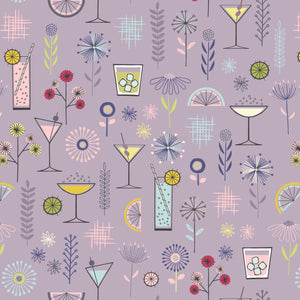 COTTON - Lewis & Irene - Cocktail Party on Mellow Mauve  (1/2 yard)