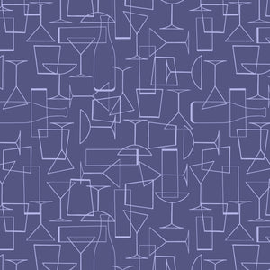 COTTON - Lewis & Irene - Cocktail Party Glasses on Dark Violet  (1/2 yard)